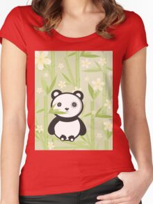 Cute Emo Panda Illustration Women's Fitted Scoop T-Shirt