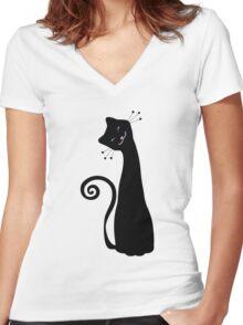 Black Cheerful Cat Vector Art Women's Fitted V-Neck T-Shirt