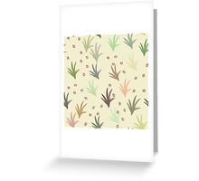 Cat tracks through tufts of grass on cream Greeting Card