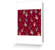 Cat tracks through tufts of grass on red Greeting Card