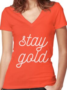 THE OUTSIDERS 'STAY GOLD' Women's Fitted V-Neck T-Shirt