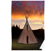 Indian Teepee Sunset Vertical Image Poster