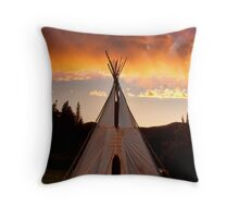 Indian Teepee Sunset Vertical Image Throw Pillow
