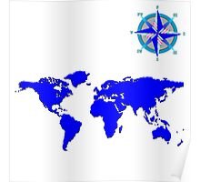 blue world mad with wind rose Poster