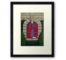 Alabaster Gothic Window Garden  Framed Print