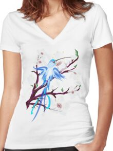 Bird and Cherry Blossoms Women's Fitted V-Neck T-Shirt