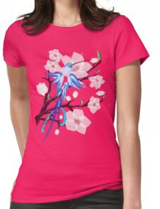Bird and Cherry Blossoms Womens Fitted T-Shirt