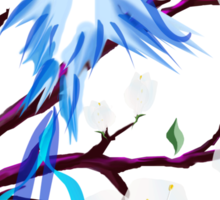 Bird and Cherry Blossoms Sticker