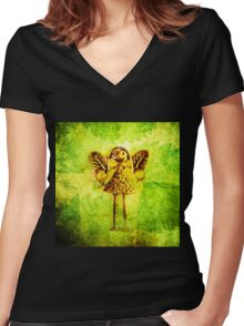 STEEL FAIRY! STEEL FAIRY!  Women's Fitted V-Neck T-Shirt