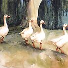 Four White Geese by Helen Lush
