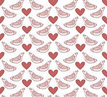 Lovebirds pattern. Love theme.  by Mehendra