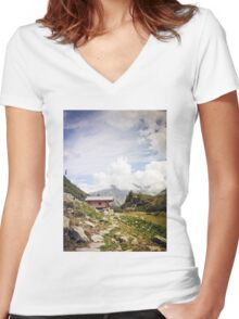 The Hut in the Mountains Women's Fitted V-Neck T-Shirt
