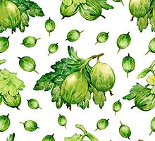- Green gooseberries pattern - by Losenko  Mila