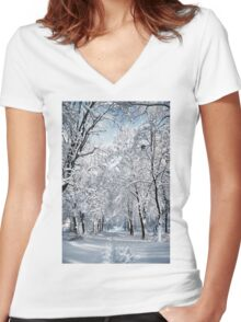 Walking in a winter park Women's Fitted V-Neck T-Shirt