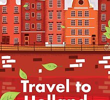 Travel To Holland vintage travel poster by Nick  Greenaway