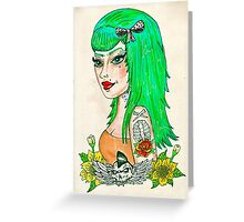 Psychobilly Babe Greeting Card
