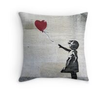 Banksy's Girl with a Red Balloon Throw Pillow