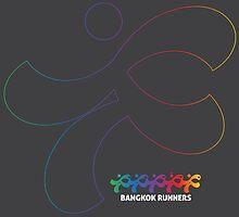 Bangkok Runners | solo runner, outline, gray background by Lin Da