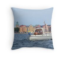 Boating in Stockholm Throw Pillow