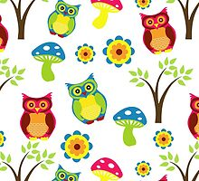 Owls, Trees, Mushrooms, Flowers - Green Blue Pink by sitnica