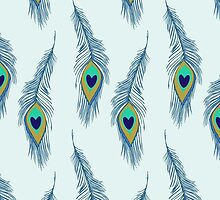 Peacock (Peafowl) Feathers, Hearts - Green Blue  by sitnica