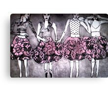 Dancing Girls - Edition 1 Drypoint Etching Canvas Print