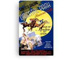 Havana Horse Racing Vintage Travel Poster Restored Canvas Print