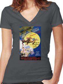 Havana Horse Racing Vintage Travel Poster Restored Women's Fitted V-Neck T-Shirt