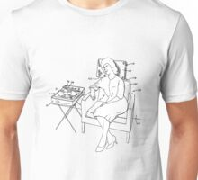 Relaxing in chair with a record player Unisex T-Shirt