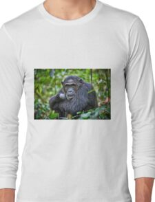 portrait of a chimpanzee Long Sleeve T-Shirt