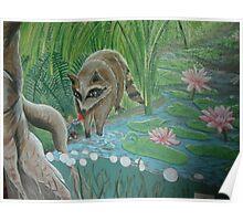 Fairy feeding Raccoon  Poster