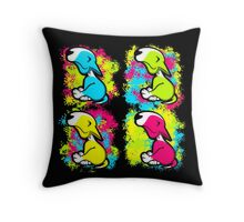 Colour Splash Innocent English Bull Terrier Puppies Throw Pillow