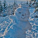 A Happy Snowman in the middle of a cold winter. by Jessica Smith