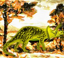 A digital painting of my vector drawing of a Triceratops Dinosaur by Dennis Melling