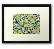 Flowers, Petals, Leaves, Blossoms - Blue Yellow Framed Print