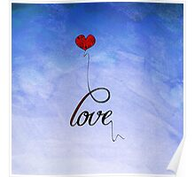 """Love"" Typography & Heart Balloon on Watercolor Poster"