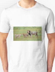 male lion teaching his cubs T-Shirt