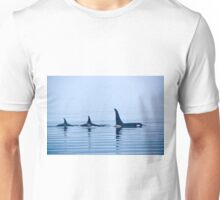 Three Killer whales with huge dorsal fins Unisex T-Shirt