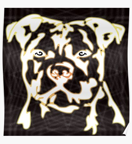 strong pitbul with illustration Poster