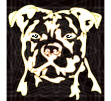strong pitbul with illustration Photographic Print