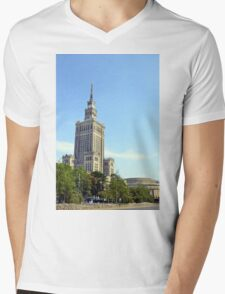 Palace of Culture and Science in Warsaw Poland Mens V-Neck T-Shirt