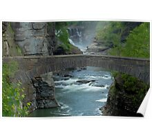 Lower Waterfalls at Letchworth with Stone Walk Bridge Poster