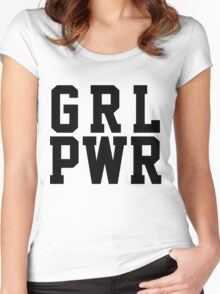 GRL PWR - Black Text Women's Fitted Scoop T-Shirt