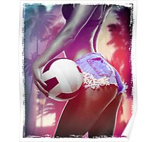 volleyball shorts jeans sport sexy girl hot beautiful ocean lagoon sea beach Poster