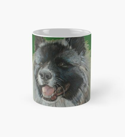 Long coat black face silver grey akita Mug