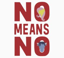 No means no - white, with characters Kids Tee