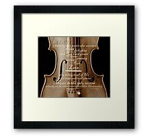 violin with words A.H. Overstreet © 2010 patricia vannucci Framed Print