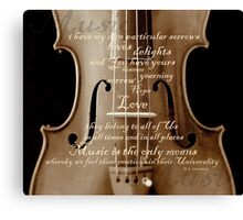 violin with words A.H. Overstreet © 2010 patricia vannucci Canvas Print