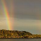 Cape Forchu Triple Rainbows by Debbie  Roberts
