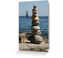 Rocks Stacked at the Beach Greeting Card